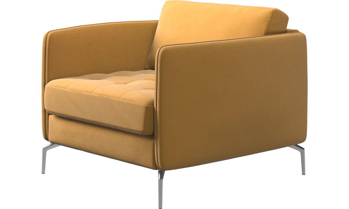 Fauteuils - fauteuil Osaka, assise capitonnée - Jaune - Tissu