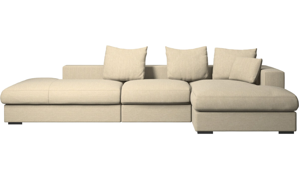 3 seater sofas - Cenova sofa with lounging and resting unit - Brown - Fabric
