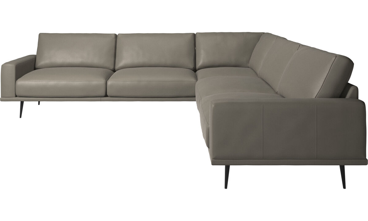 Corner sofas - Carlton corner sofa - Grey - Leather