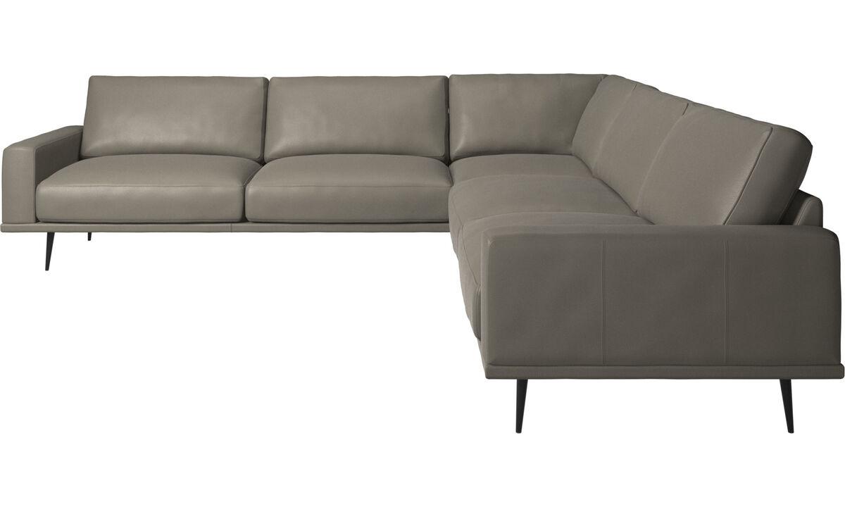 Sofás esquineros - sofá esquinero Carlton - En gris - Piel