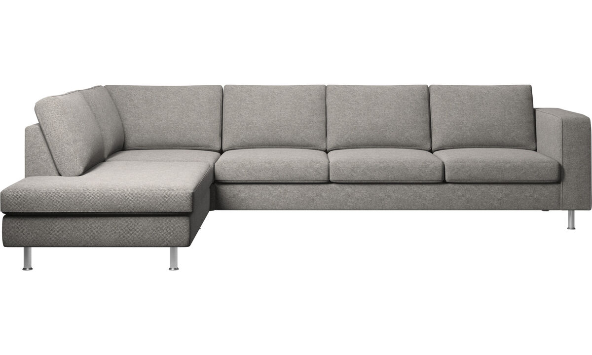 Corner sofas - Indivi corner sofa with lounging unit - Grey - Fabric