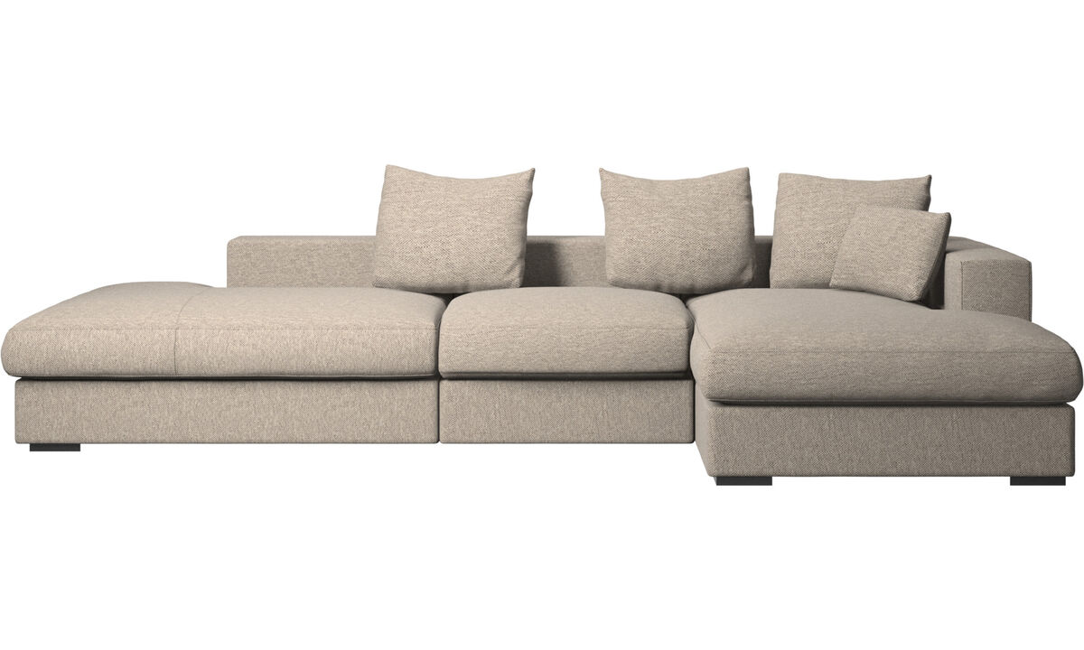 Sofas with open end - Cenova sofa with lounging and resting unit - Beige - Fabric