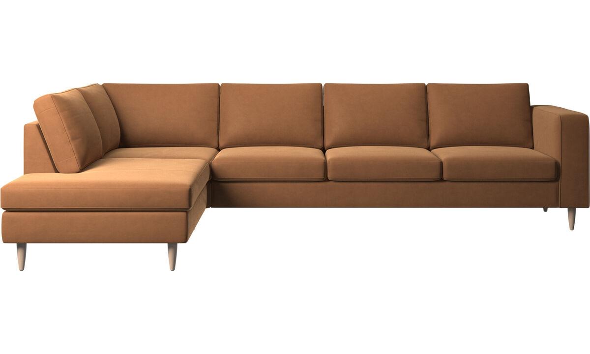 Lounge Sofas - Indivi Ecksofa mit Loungemodul - Braun - Leder