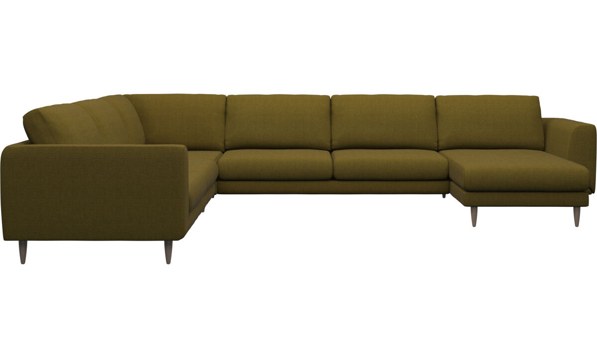 Chaise lounge sofas - Fargo corner sofa with resting unit - Yellow - Fabric