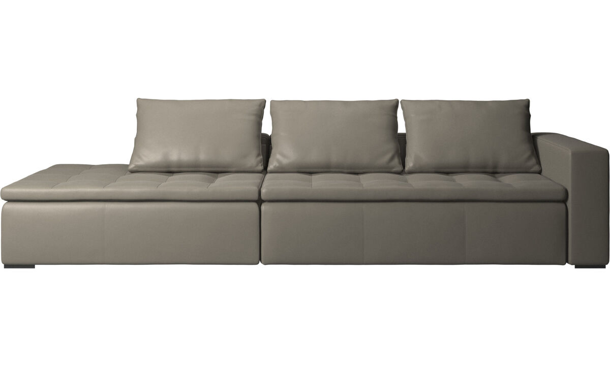 Sofás con lado abierto - Sofá Mezzo con módulo de descanso - En gris - Piel