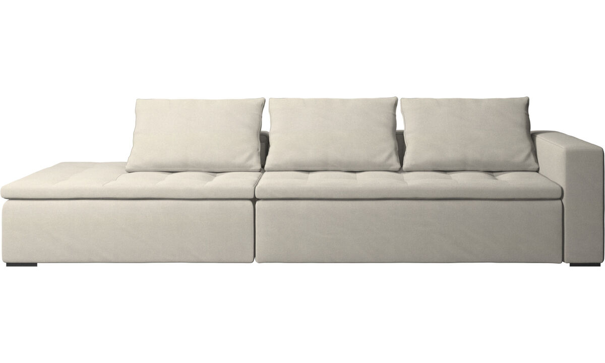 Sofas with open end - Mezzo sofa with lounging unit - White - Fabric