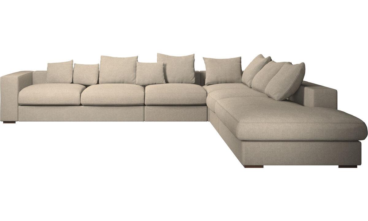 Sofy narożne - Sofa narożna Cenova z modułem wypoczynkowym - Beżowy - Tkanina