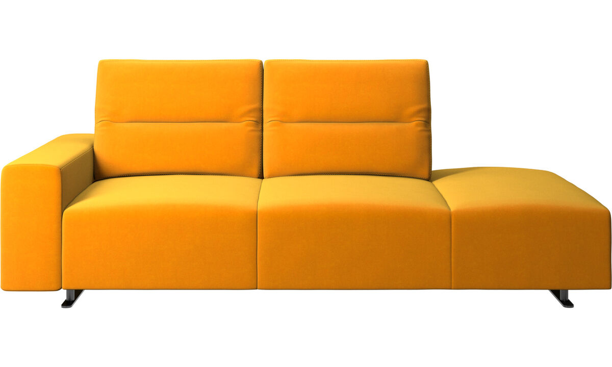 Sofas with open end - Hampton sofa with adjustable back and lounging unit right side, armrest left - Orange - Fabric