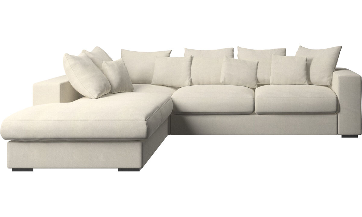 Sofas with open end - Cenova sofa with lounging unit - White - Fabric