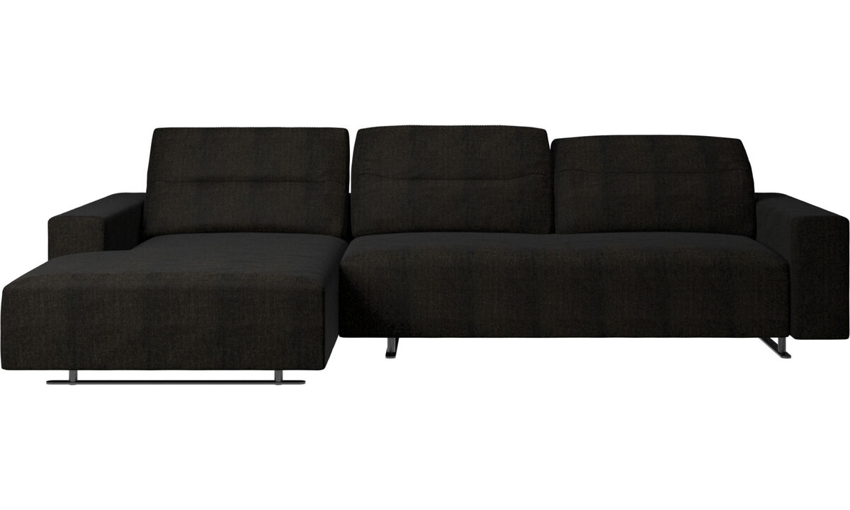 Chaise longue sofas - Hampton sofa with adjustable back and resting unit left side - Brown - Fabric