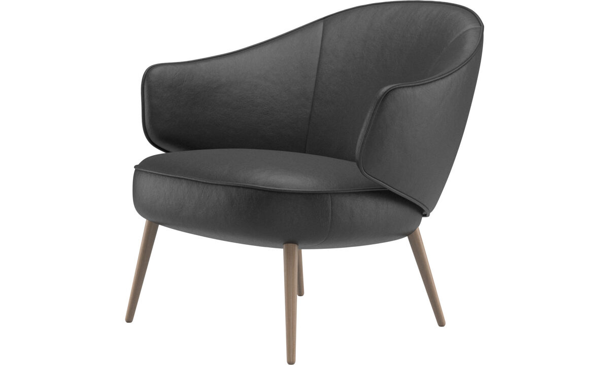 Armchairs - Charlotte chair - Black - Leather