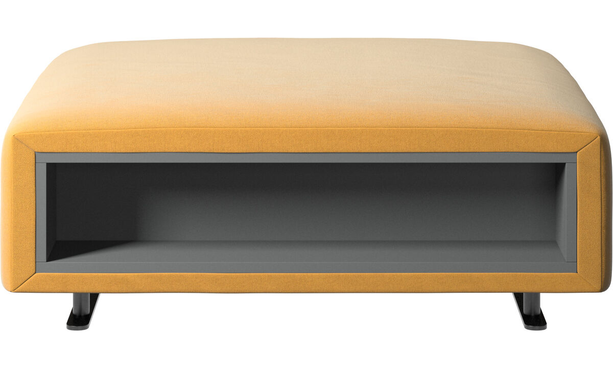 Footstools - Hampton footstool with storage left and right sides - Yellow - Fabric