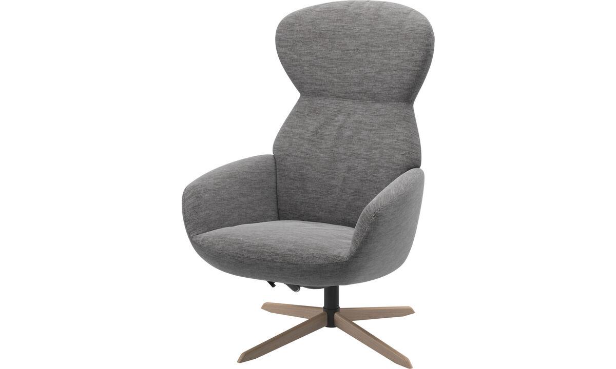 Butacas reclinables - Butaca Athena con respaldo reclinable y base giratoria - En gris - Tela