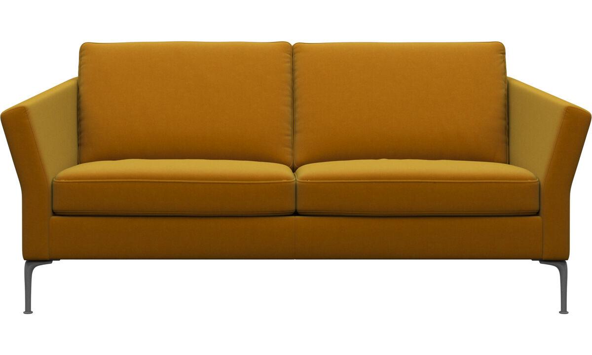 Sofás de 2 plazas y media - sofá Marseille - Naranja - Tela
