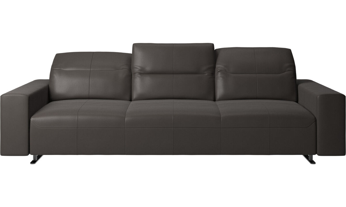 3 seater sofas - Hampton sofa with adjustable back - Brown - Leather