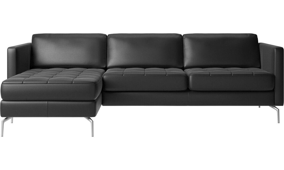 Sofás con chaise longue - Sofá Osaka con módulo chaise-longue, asiento regular - En negro - Piel