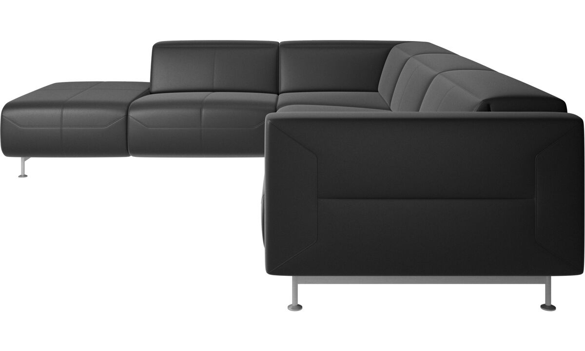 Recliner sofas - Parma reclining corner sofa with open end - Black - Leather