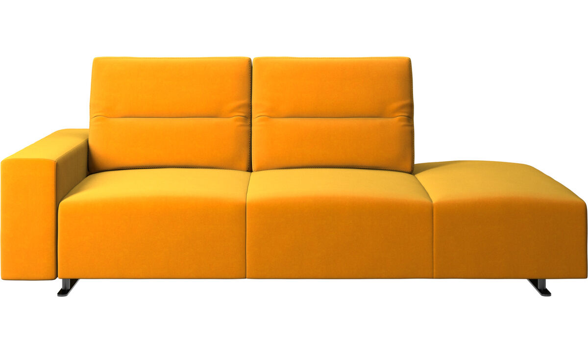 Sofas with open end - Hampton sofa with adjustable back and lounging unit right side, storage and armrest left side - Orange - Fabric