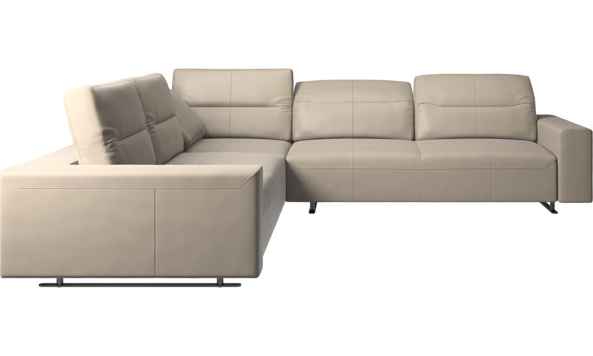 Corner sofas - Hampton corner sofa with adjustable back - Beige - Leather