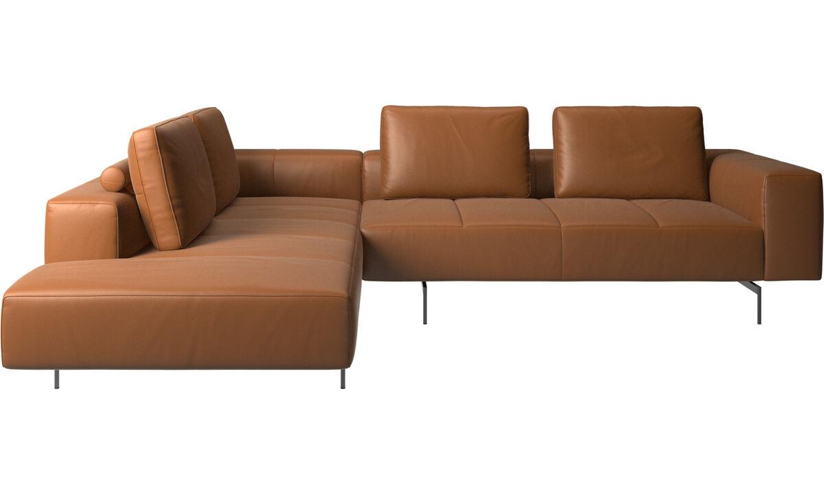 Sofás modulares - Sofá esquinero Amsterdam con módulo de descanso - En marrón - Piel