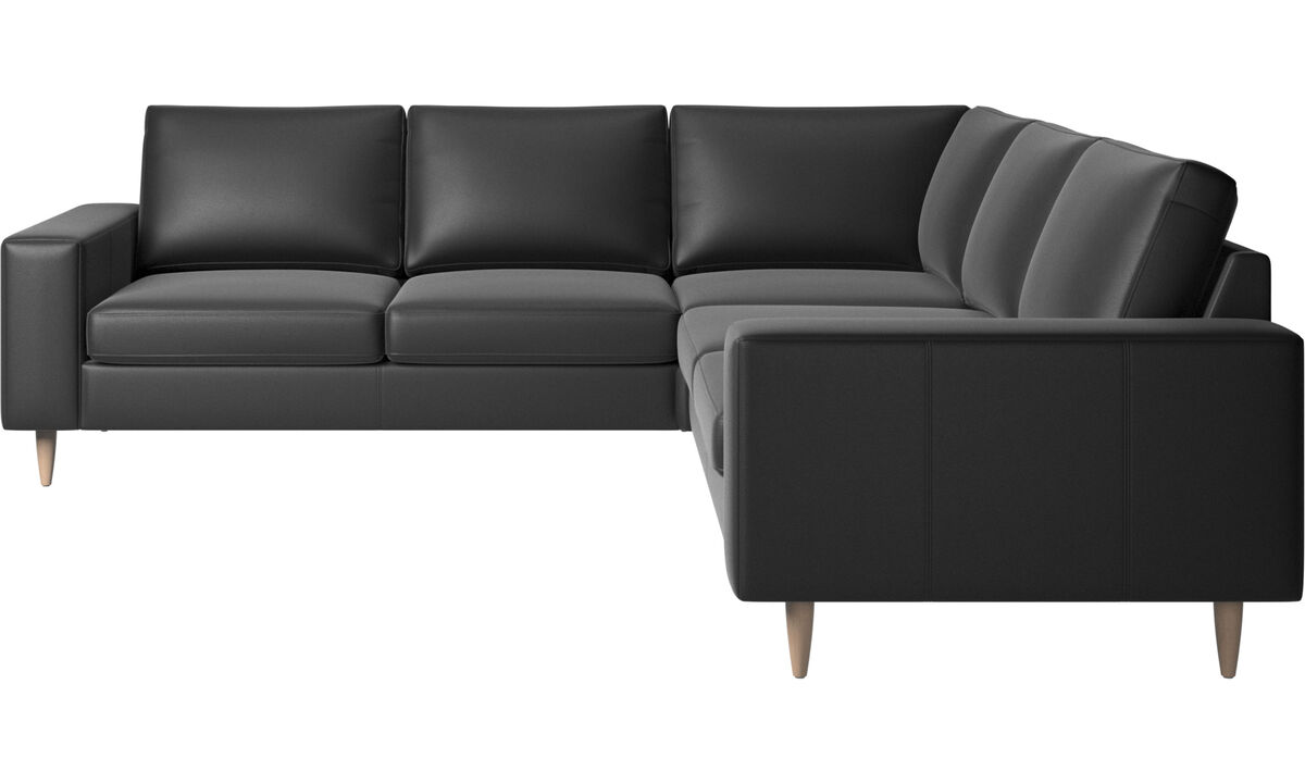 Corner sofas - Indivi 2 corner sofa - Black - Leather