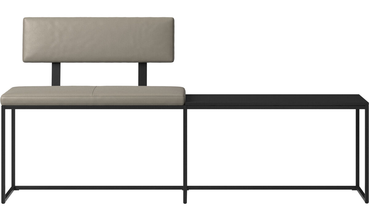 Benches - London large bench with cushion, shelf and backrest - Grey - Leather