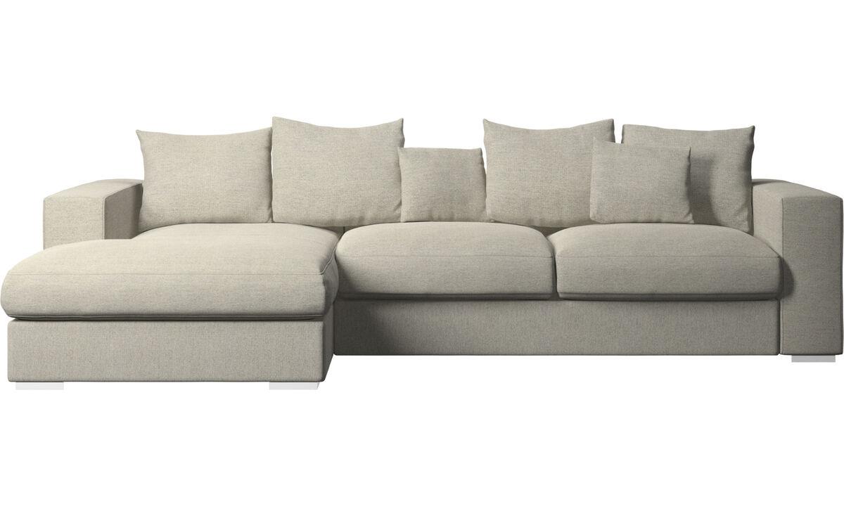 Canapés avec chaise longue - canapé Cenova avec chaise longue - Beige - Tissu