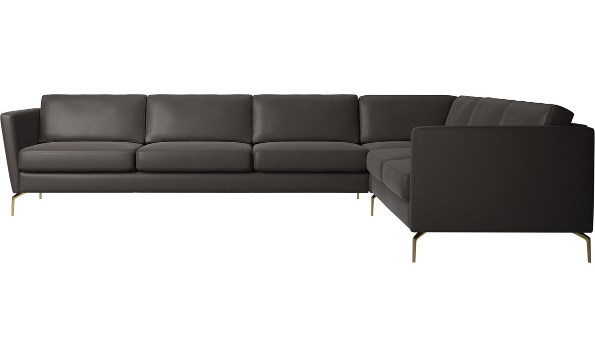 Corner sofas - Osaka corner sofa, regular seat - Brown - Leather