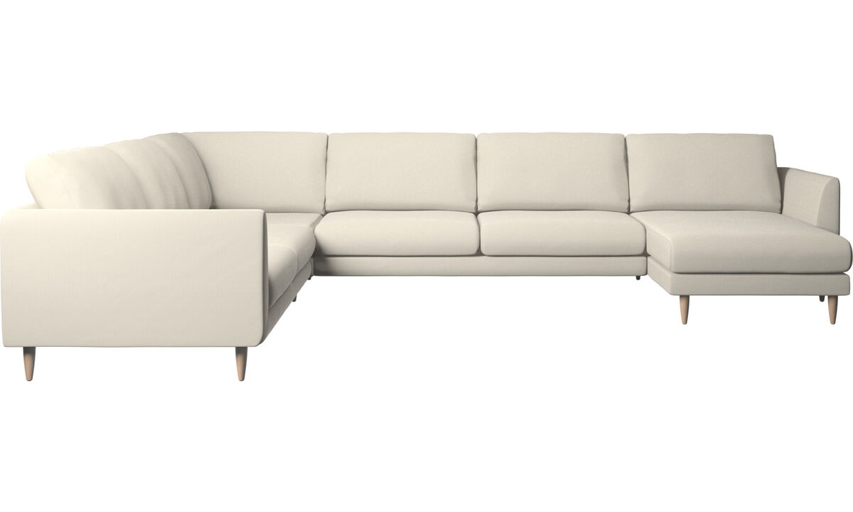 New designs - Fargo corner sofa with resting unit - White - Fabric
