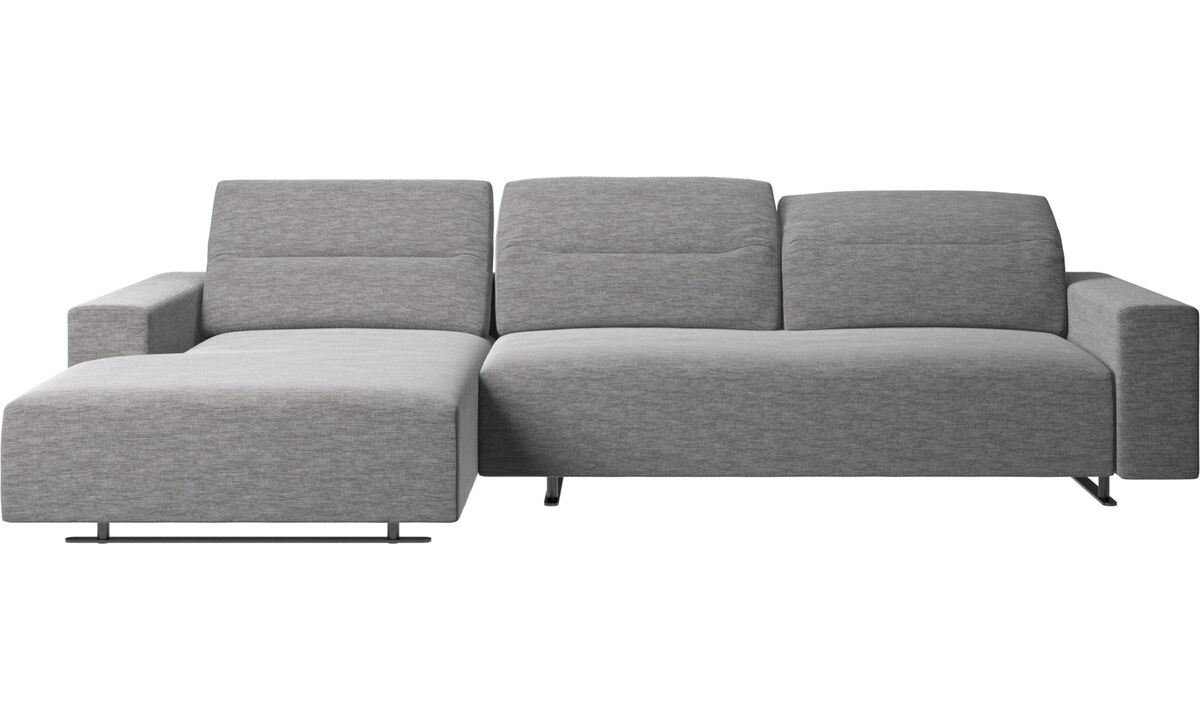 Chaise lounge sofas - Hampton sofa with adjustable back and resting unit left side - Gray - Fabric