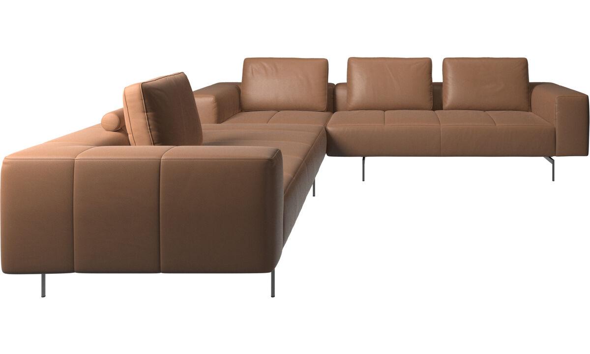 Rohové sedačky - rohová sedačka Amsterdam - Hnedá - Koža