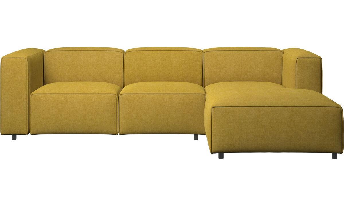 Sofás reclinables - Sofá Carmo con movimiento y módulo de descanso - En amarillo - Tela