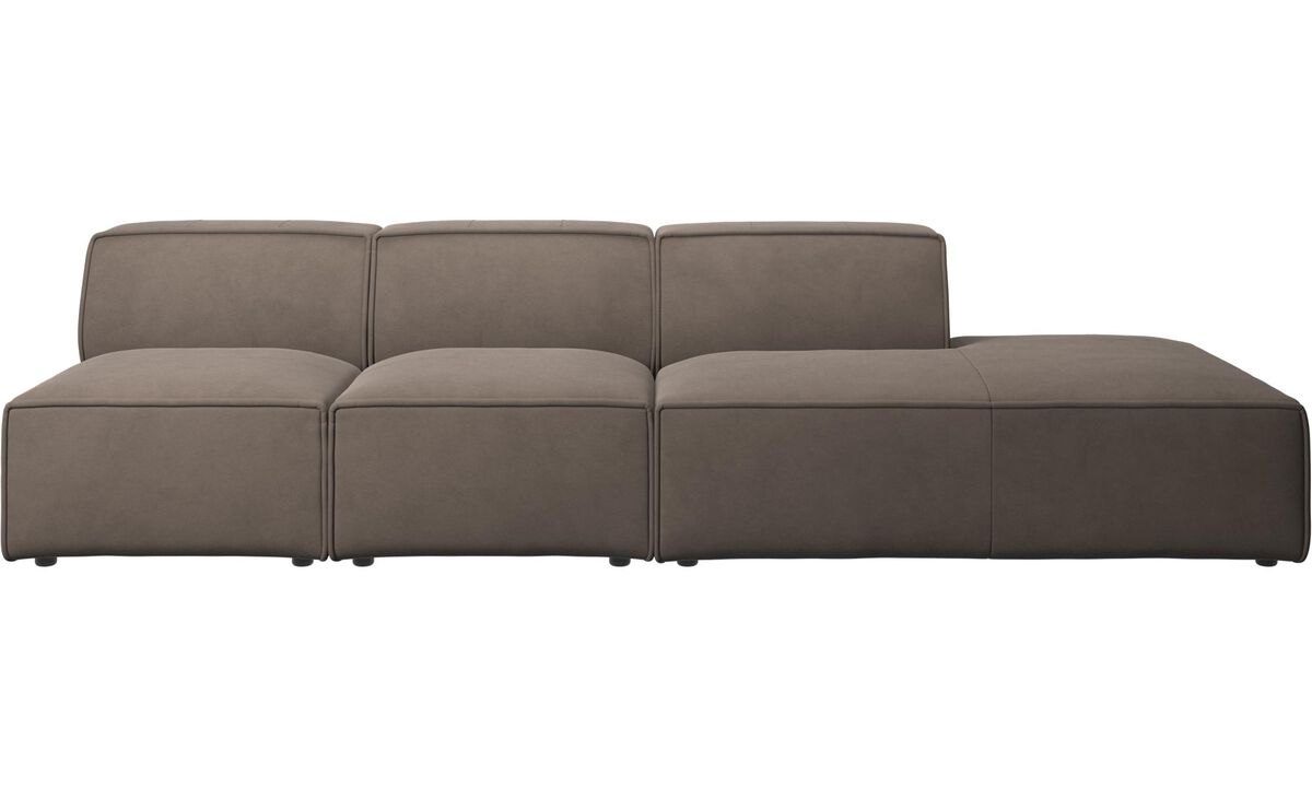 Sofas with open end - Carmo sofa with lounging unit - Gray - Leather