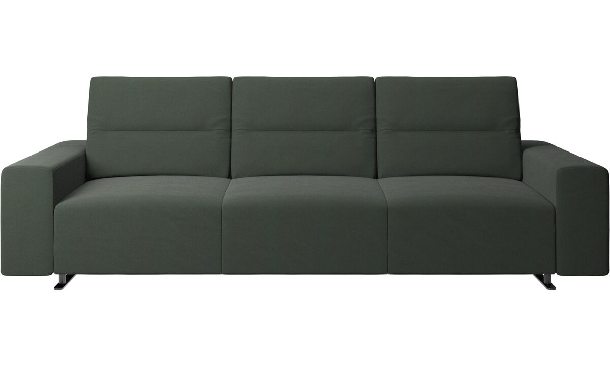Sofás de 3 lugares - Sofá Hampton com encosto ajustável e armazenamento na lateral direita - Verde - Tecido