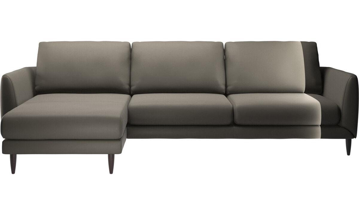 Chaise longue sofas - Fargo divano con penisola relax - Grigio - Pelle