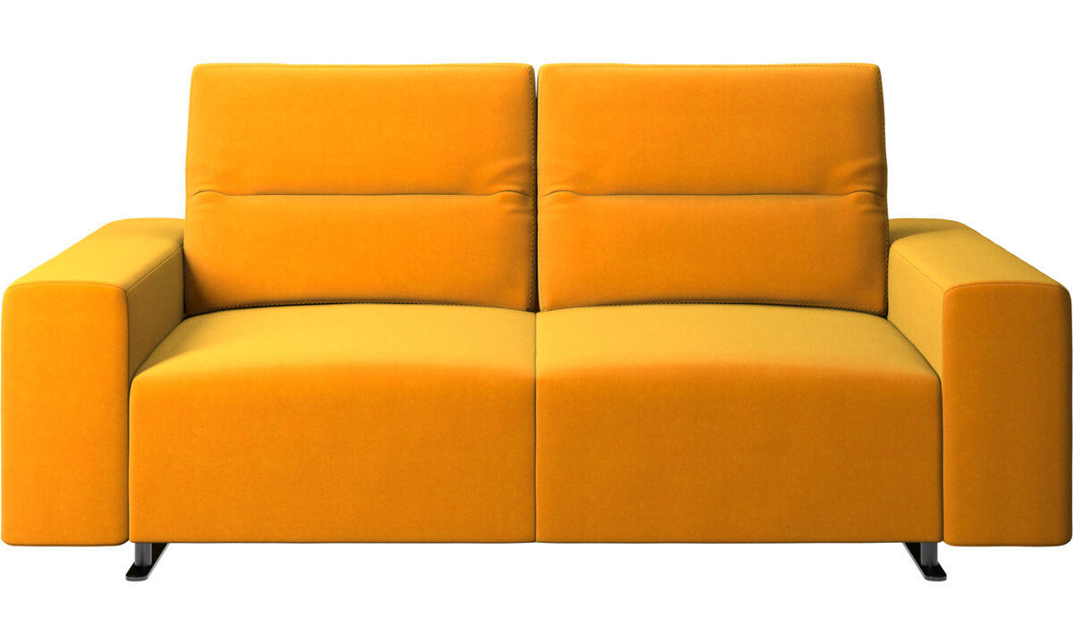 2 seater sofas - Hampton sofa with adjustable back and storage on the right side - Orange - Fabric