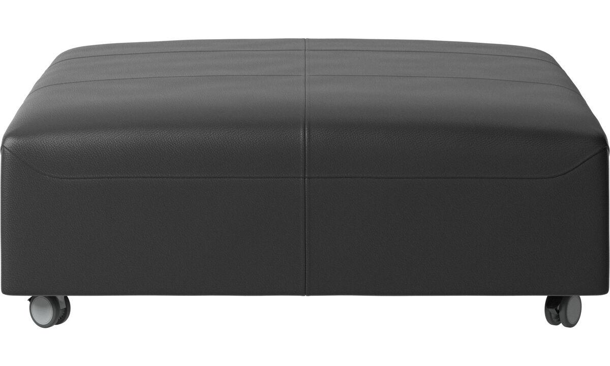 Footstools - Hampton pouf on wheels - Black - Leather