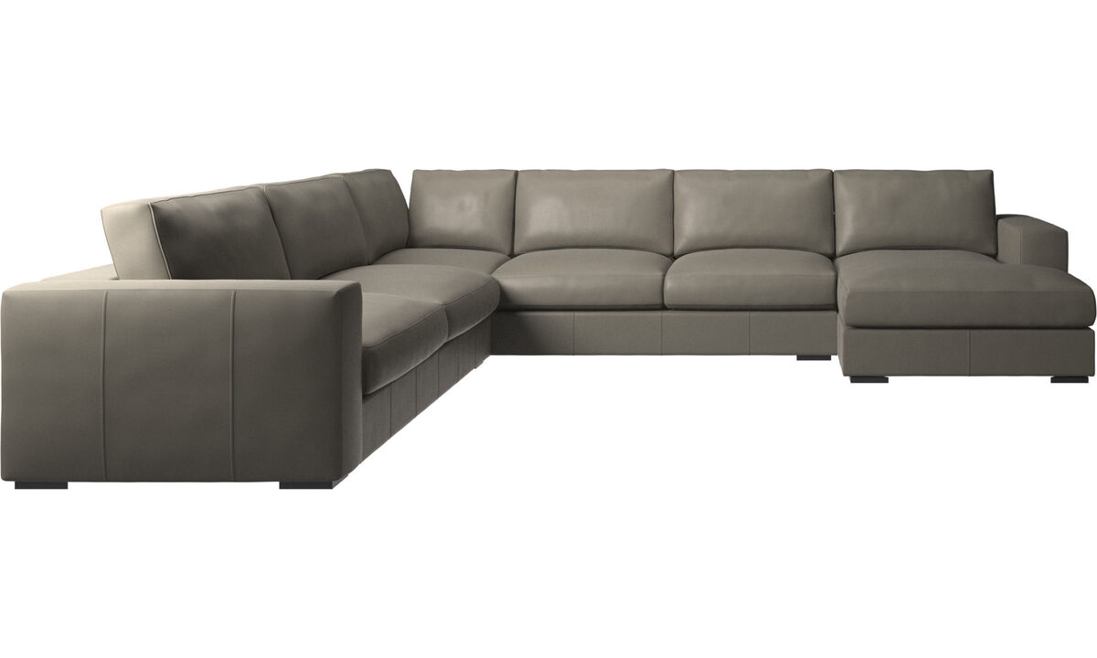 Corner sofas - Cenova corner sofa with resting unit - Grey - Leather