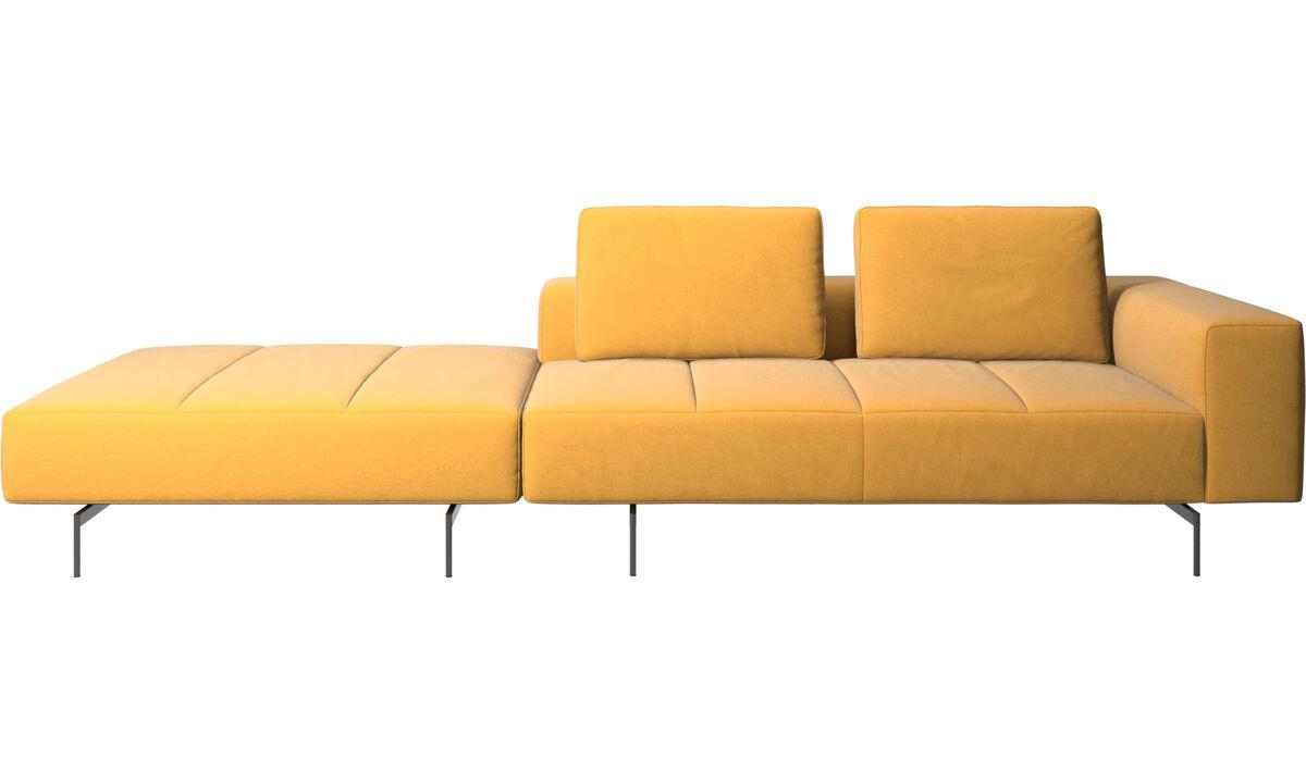 Sofás modulares - Sofá Amsterdam con puf en lado izquierdo - En amarillo - Tela