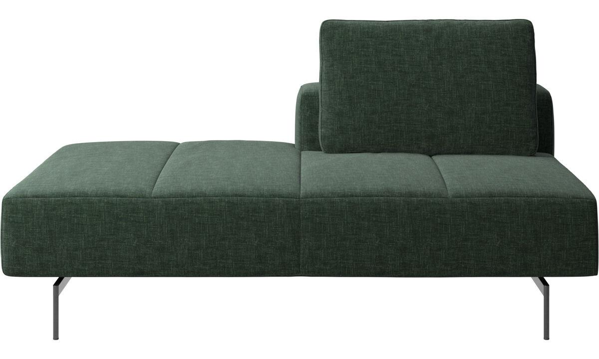 Canapés avec méridienne - Module de canapé Amsterdam, dossier à droite, chaise longue à gauche - Vert - Tissu
