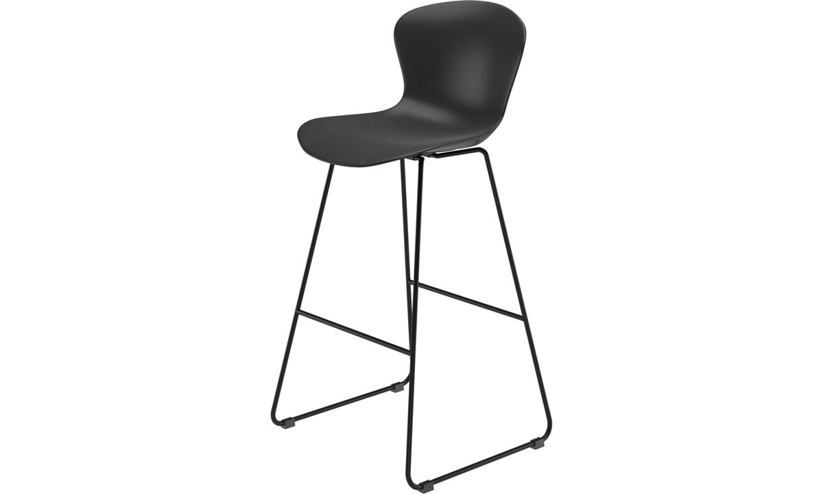 Tabourets de bar - chaise de bar Adelaide - Noir - Plastique