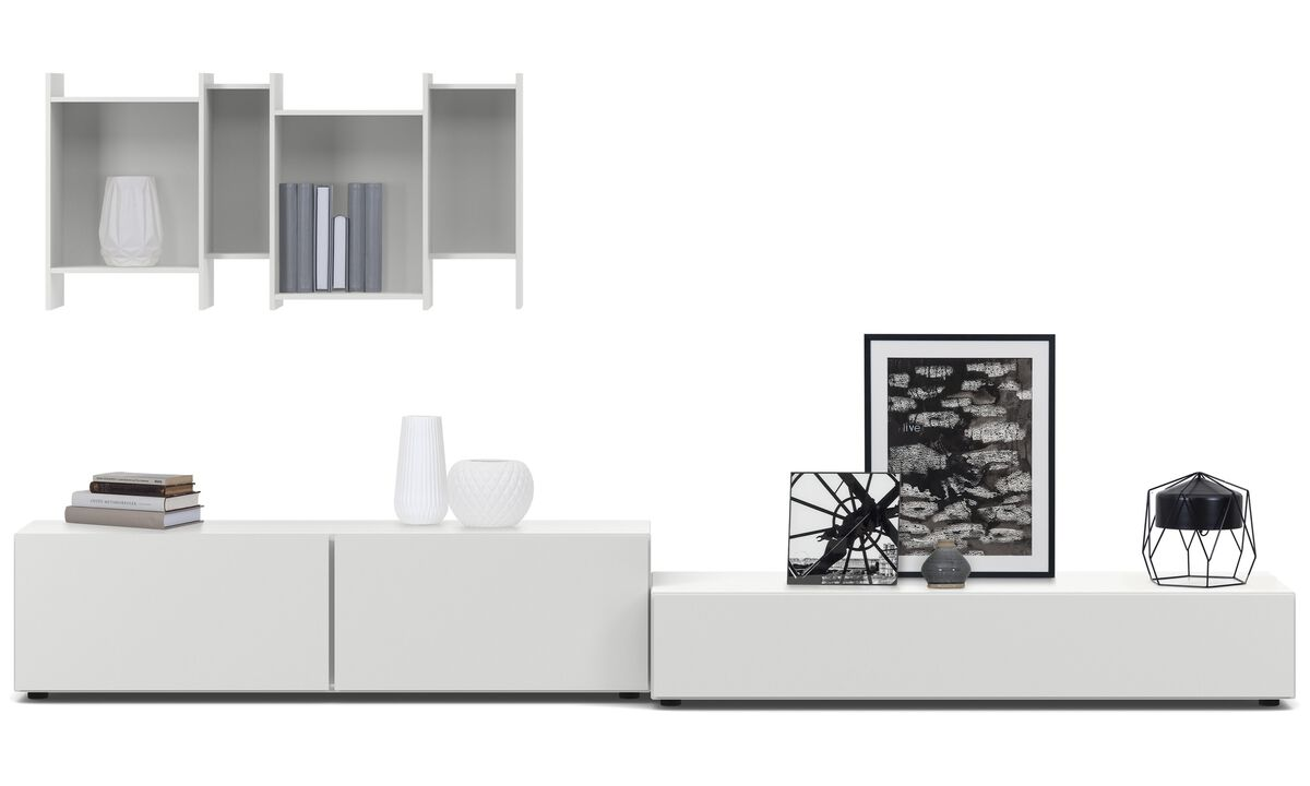 Wall systems - Lugano wall system with drop down doors and drawer - White - Lacquered