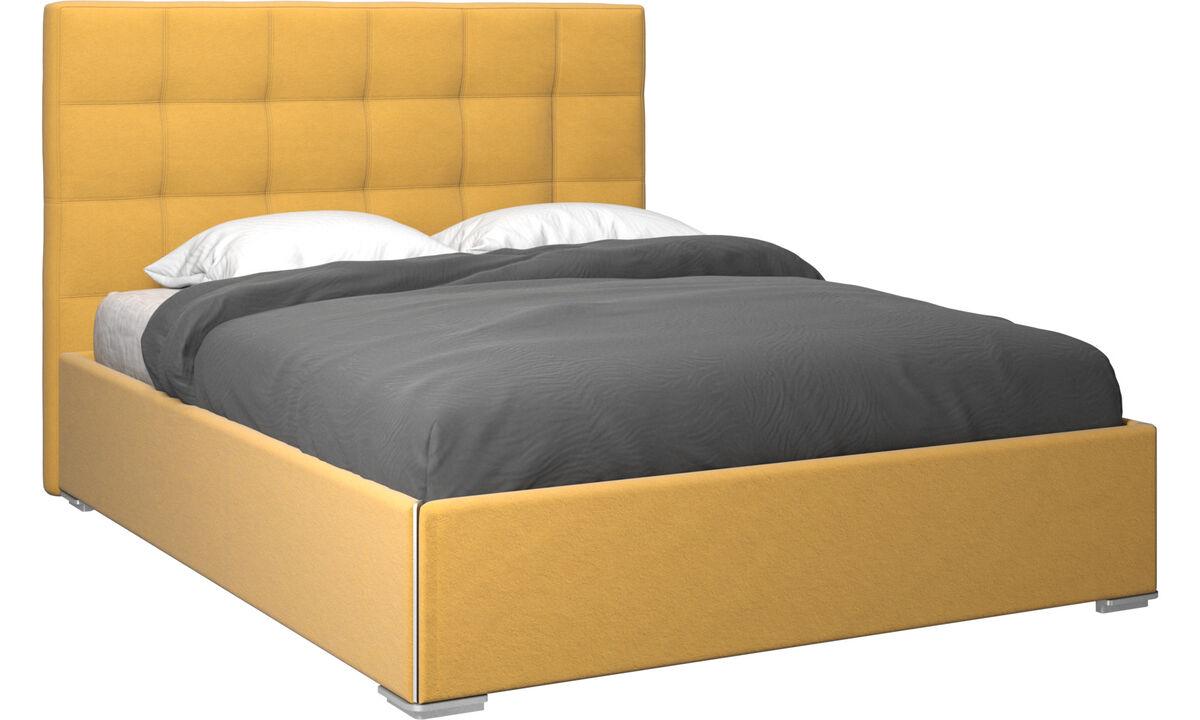 Camas - cama con canapé Mezzo, estructura elevable y tablado, no incluye colchón - En amarillo - Tela
