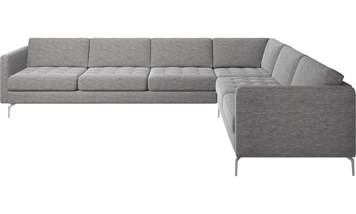 Corner sofas - Osaka corner sofa, tufted seat - Grey - Fabric