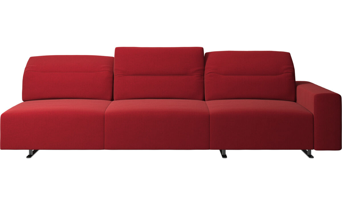 3 seater sofas - Hampton sofa with adjustable back and storage on the right side - Red - Fabric