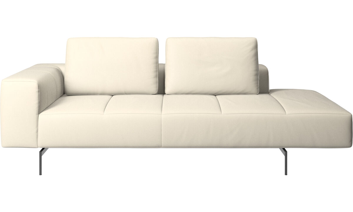 Chaise lounge sofas - Amsterdam resting module for sofa, armrest left, open end right - White - Leather