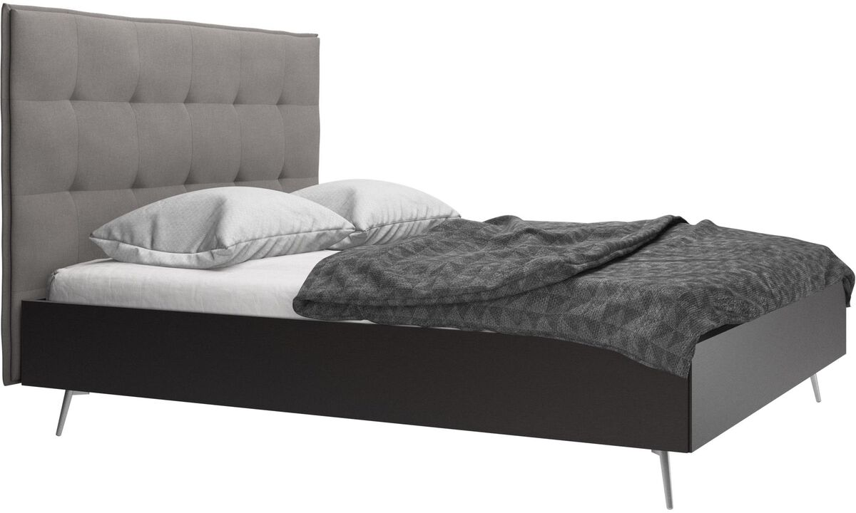 Betten - Lugano Bett, Lattenrost und Matratze gegen Aufpreis - Grau - Stoff
