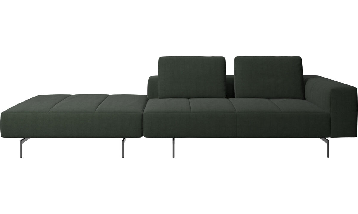 Modular sofas - Amsterdam sofa with footstool on left side - Green - Fabric