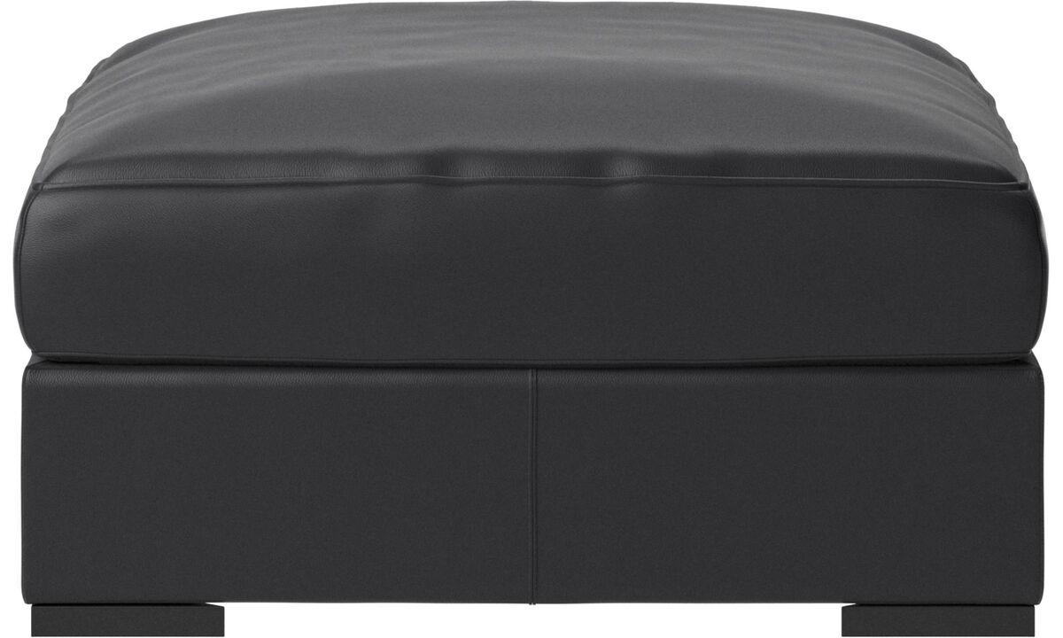 Footstools - Cenova footstool - Black - Leather