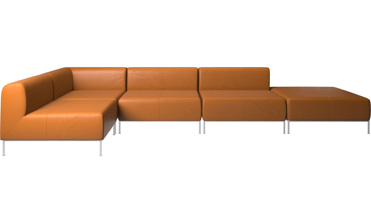 Modular sofas - Miami corner sofa with footstool on right side - Brown - Leather